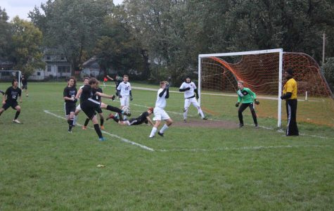 Freshman Zephyr Lengle (#14) scores the last goal of the season with an amazing volley.